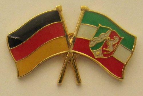 Nordrhein Westfalen / Deutschland Fre&schafts Pin Anstecker Flagge Fahne Nationalflagge Doppelpin Flaggenpin Badge Button Flaggen Clip Anstecknadel