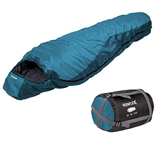 KeenFlex Schlafsack - 3 Jahreszeiten -5℃ + 15℃ - Hochentwickeltes Wärmeregulierungssystem – Mumienschlafsack Ideal für Camping, Backpacking oder Wandern (Dunkelblau)