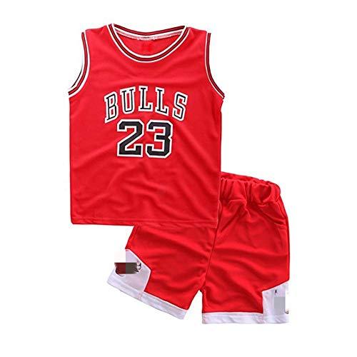 Angel ZYJ Niño Michael Jordan # 23 Chicago Bulls Retro Pantalones Cortos de Baloncesto Camisetas de Verano Uniformes y Tops de Baloncesto (Rojo # 23, m)