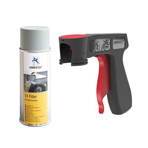 AUPROTEC 1K Dickschichtfüller Multi Filler Lack Füller Grundierung Primer Füllspray 1x 400ml + 1x Original Pistolengriff