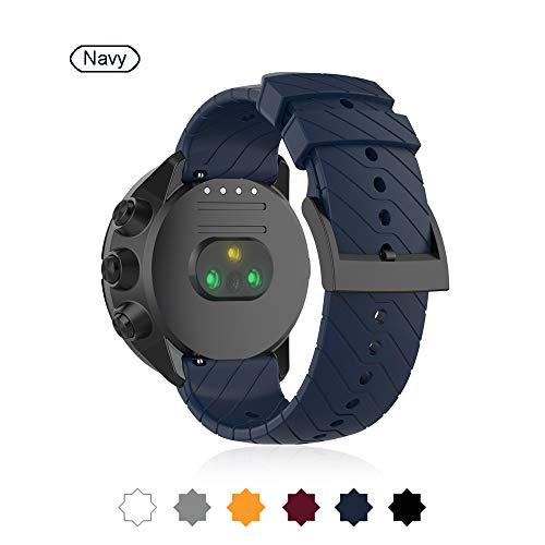 Buwico Armband für Suunto 9, Ersatz Silikon Wechselarmbänder Fitness Uhrband Sport Uhrenarmbänder für Suunto Spartan Sport Wrist HR Baro/Suunto 9 /Suunto D5 (Marine)