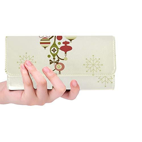 Einzigartige Benutzerdefinierte Schöne Weihnachtsbaum Weihnachtskarte Frauen Trifold Brieftasche Lange Geldbörse Kreditkarteninhaber Fall Handtasche