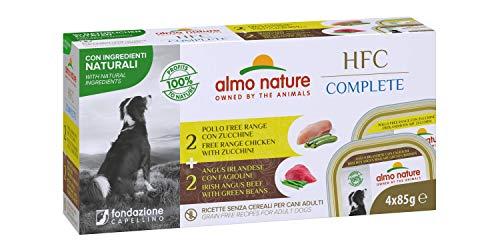 almo nature Hfc Complete Multi Pack -Mix Carni- (2 X Angus Irlandese E Fagiolini - 2 X Pollo Free Range con Zucchine) Cibo Umido Completo per Cani Adulti 85G X 4-400 g