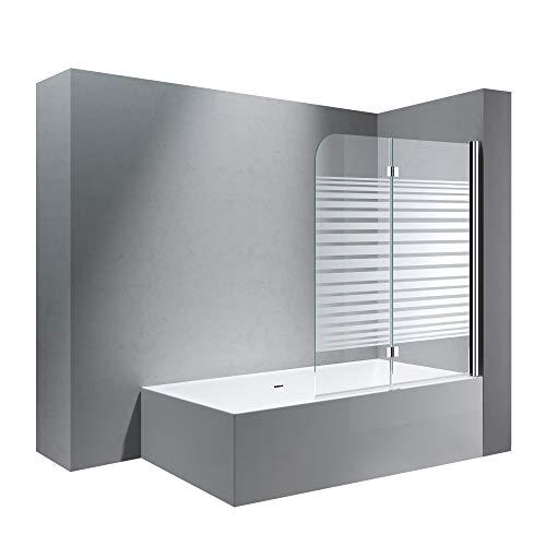 doporro BxH:120x140cm Duschabtrennung/Duschwand für Badewanne aus Glas Cortona1408S-rechts,Badewannenaufsatz, Wandanschlag rechts, inkl. Nanobeschichtung, Badewannenfaltwand