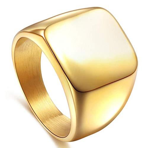 enhong Signet Biker Rings Solid Polished Stainless Steel Ring for Men, Gold Color in Size 10
