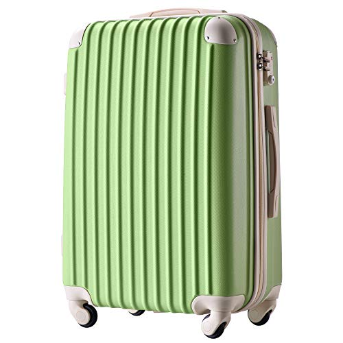 [トラベルハウス] Travelhouse スーツケース 超軽量 TSAロック搭載 機内持込み 国際的 半鏡面 人気色 ファスナータイプ 【一年安心保証】(24色4サイズ対応) (Mサイズ(57L/4-7宿泊), 抹茶グリーン)