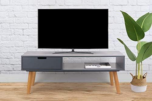 LIFA LIVING Mueble TV Gris, Mesa televisión de diseño Vintage Industrial, Soporte para Tele con estantes y Patas de Madera, 40 x 100 x 40 cm: Amazon.es: Hogar