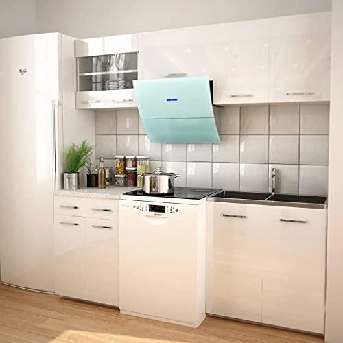 MUSEVANE 5-TLG. Küchenzeile Set mit Dunstabzugshaube Hochglanz Weiß