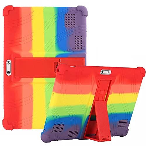 QYiD Funda para Tablet VANKYO MatrixPad S30 S10 Z4 de 10 Pulgadas, Funda de Silicona Suave a Prueba de Golpes Protectora Cubrir Funda para MatrixPad S10/S20/Z4/Z4 Pro Android, Arcoíris