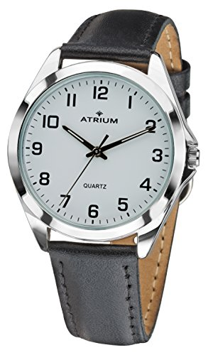 ATRIUM Herren-Armbanduhr sehr deutlich silberfarben Quarz 3 Bar Lederband A10-10