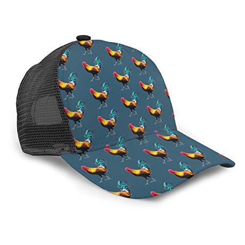 Inaayayi Gorra de béisbol unisex con diseño de gallo para adultos de moda, gorros de malla para camionero, ajustable, color negro