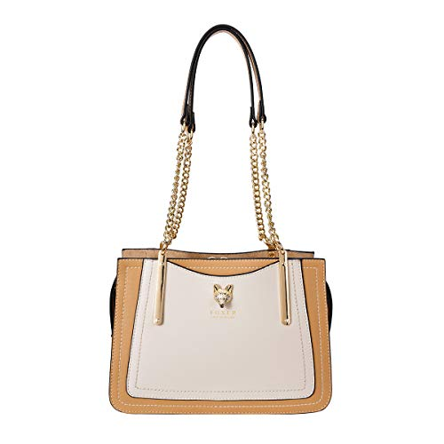 Leather Satchel Handbags for Women, Genuine Leather 3D Fox Decoration Ladies Shoulder Bags with Metal Chain Strap Womens Fashion Top-handle Bags Women's Casual Purses and Handbags (Brown & White)
