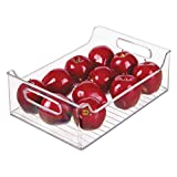 iDesign Plastic Fridge and Freezer Storage Organizer Bin With Handles, Clear Container for Food, Drinks, Produce Organization, BPA-Free , 10' x 5' x 14', Clear