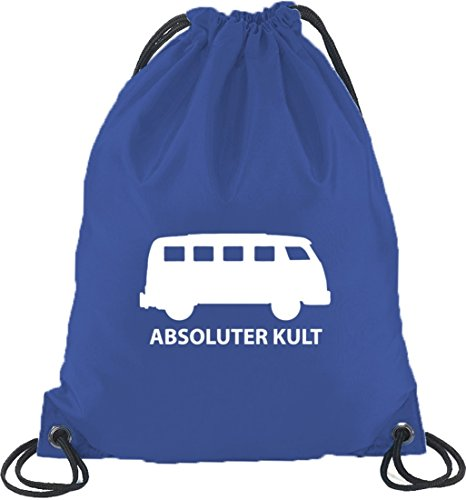 Shirtstreet24, ABSOLUTER KULT, Bus Turnbeutel Rucksack Sport Beutel, Größe: onesize,Royal Blau