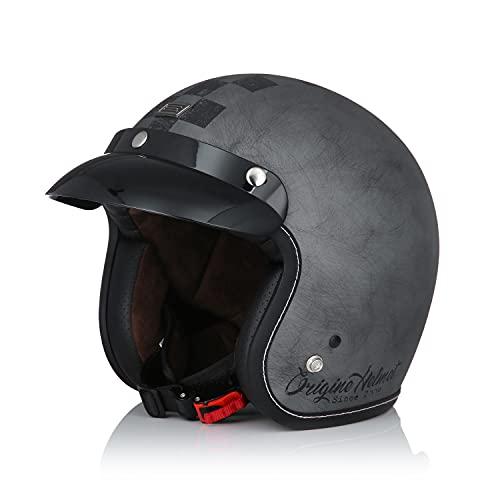 Origine Öffnen 3/4 Motorradhelm Retro-Stil Jet-Helm Vintage ECE 22-05 Zertifizierung mit Sonnenblende