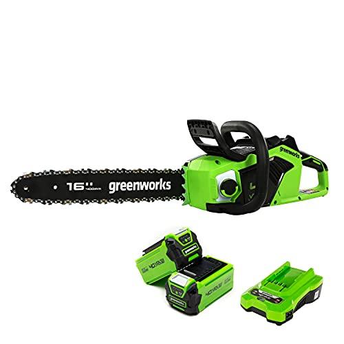 Greenworks Motosierra de batería GD40CS18 (Li-Ion 40 V 20 m/s velocidad de la cadena 1.8 kW Potencia 40 cm longitud de la espada 180 ml volumen del depósito de aceite incl. 2 x 2Ah batería y c