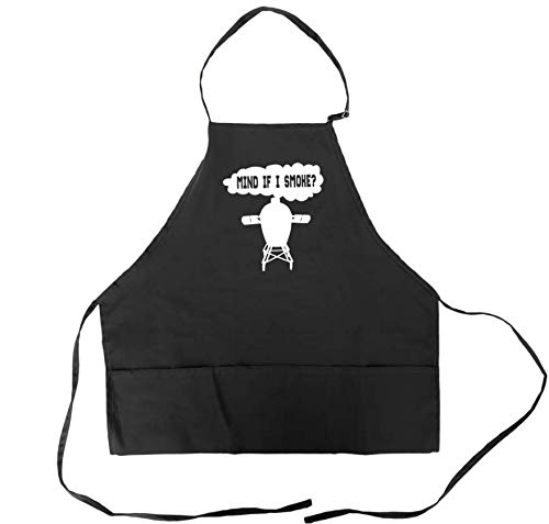 ComicaliTees Funny BBQ Apron for Men Barbeque BGE Grilling Dad Aprons With Pockets Big Green Egg Accessory Mind If I Smoke , Black , Universal