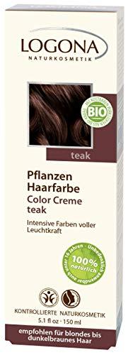 LOGONA Natuurcosmetica Coloration Plantenhaarverf, Color Crème - 230 Teak - bruin, natuurlijke en voedende haarkleuring (150g)
