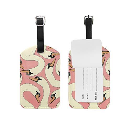 LORONA Goose Head Pink Etiquetas de equipaje Cuerdas Etiqueta de identificación de viaje para maleta de mano, 1 unidad