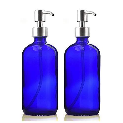 YWSZY 2 X 500 ml del jabón líquido de 16 onzas, Botella vacía de Cristal Azul Cobalto W Bomba de Acero Inoxidable/for desinfectante for Las Manos Hechas en casa Lociones Dispensadores de loción y de