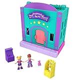 Polly Pocket Pollyville La Salle de Jeux, 2 mini-figurines Polly et Lila, accessoires et autocollants, jouet enfant, édition 2019, GFP41