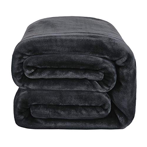 Bedsure Flannel Fleece Blanket - Queen Blanket 90x90 inches, Ash Black - Soft, Plush, Warm Blanket for Winter, Thick Blanket for Couch Sofa Bed Traveling - Reversible Bed Blankets