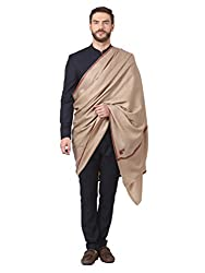 Pashtush Mens Embroidery Shawl, Gents Pashmina Shawls, 100% Handmade Embroidery, Full Size 54 x 108 inches (Dark Pashmina Colour)