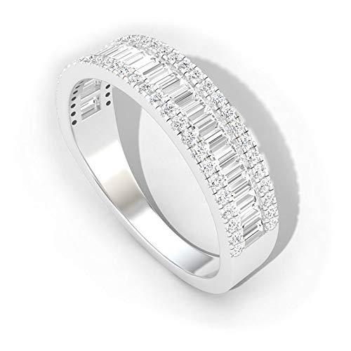 Anillo de compromiso para mujer en oro de 14 quilates, banda ancha con certificación IGI, anillo de boda con diamantes de claridad de color IJ-SI, oro blanco de 14 quilates, tamaño: US 10.5