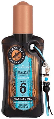 Sonnenöl Kokos Spray LSF 6 von BYRON BAY | 200ml Kokos Sonnenöl | Kokosnussöl für Körper für Tiefenbräune | Sonnen ÖL mit sommerlichen Kokosduft