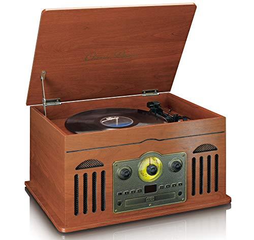 Classic Phono TCD-2600 - retro stereo-installatie met platenspeler - cassette - CD-speler - Bluetooth en USB - AM/FM-radio - 33-, 45-, en 78 omw/min - MP3 - hout