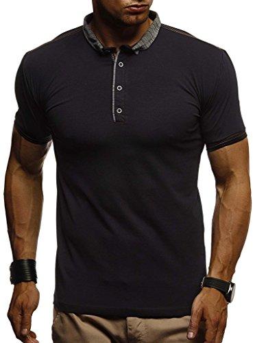 Leif Nelson Herren Sommer T-Shirt Polo Kragen Slim Fit Baumwolle-Anteil Basic schwarzes Männer Poloshirts Longsleeve-Sweatshirt Kurzarm Weißes Kurzarmshirts lang LN1310 Schwarz XX-Large