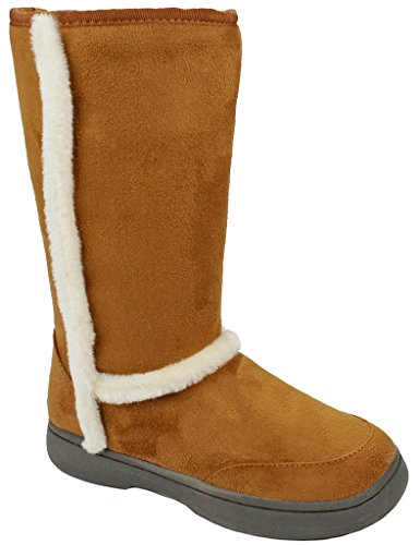 AMY Women Tahoe01 Chestnut Soft Faux Fur Lined Shearling Mid Calf Winter Snow Boots-6