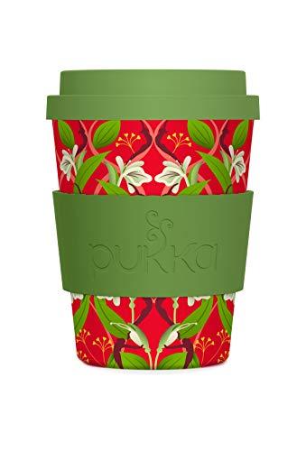 Pukka To-Go-Becher, aus Bambus, grün rot floral, 340 ml