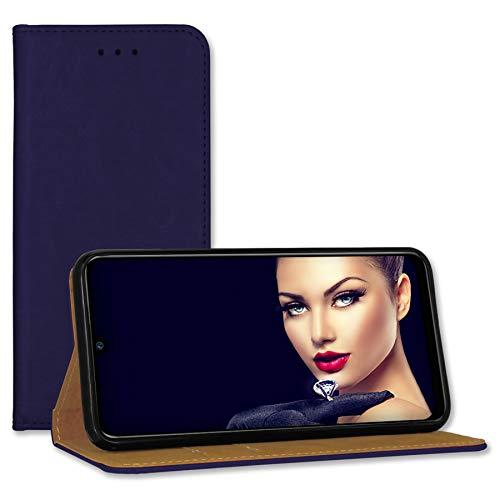 mtb more energy® Leder-Tasche Bookstyle für iPhone 12, iPhone 12 Pro (6.1) - dunkelblau - Echtleder - Schutz Hülle Wallet Cover Hülle