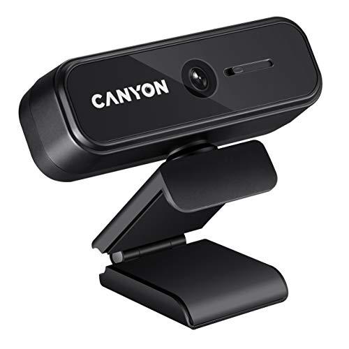 CANYON FHD 1080P Webcam mit Abdeckung, Full HD USB Webcam Plug & Play, Kompatibel mit Windows für Streaming Videochat, Zoom, YouTube, Skype, zum Konferenz