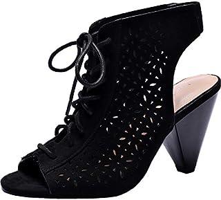 Women's Wide Width Heeled Sandals - Lace up Open Toe Heel...