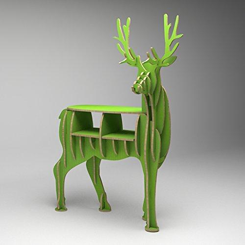 Peaceip Creative Elk Bookshelf Shelf Landing Entrance Décoration d'animaux Home Exhibition Stand (Couleur : Pomme verte)