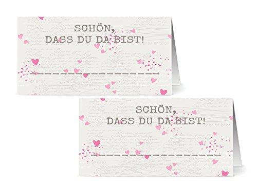 the lazy panda card company 50 Tischkarten - Schön, DASS Du da bist/Platzkarten/Namensschilder/Namenskarten/Hochzeit/Tischkarte/Geburtstage
