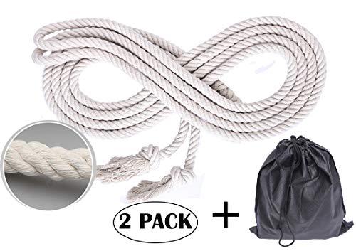 NICO SEE WONDER 16' Double Dutch Jump Rope, Long Hemp Skipping Rope with Bag (2-Pack)