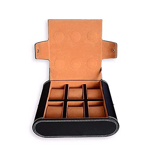 Caja de Reloj de 6 Ranuras, Organizador de Caja de Reloj de Pulsera, Organizador de Cuero, Mini Estuche a presión de Viaje, colector de Almacenamiento, Caja de joyería, Almacenamiento