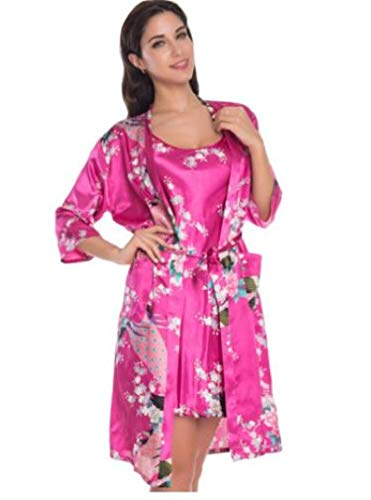 LEYUANA Conjunto de 2 Piezas para Mujer, Batas de Kimono de Pavo Real, lencera Sexy para Mujer, Fiesta de Boda, Dama de Honor, camisn de satn, Albornoz XXL Ciruela