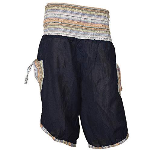 Haremshose Shorts Bermuda Jogginghose Sweathose Freizeithose Trainingshose gesmokt Varkala Herren (Blau, Einheitsgröße)