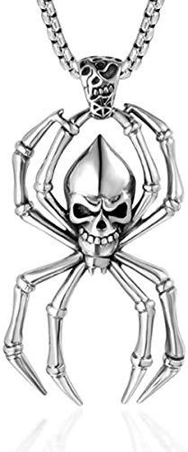 CCXXYANG Co.,ltd Collar Collar con Colgante De Calavera Punk Rock De Acero Inoxidable, Collares De Araña con Calavera Grande, Joyería para Él, Regalo