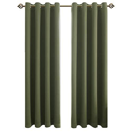 FLOWEROOM Blickdichte Gardinen Verdunkelungsvorhang - Lichtundurchlässige Vorhang mit Ösen für Schlafzimmer Geräuschreduzierung Olivgrün 245x140cm(HxB), 2er Set