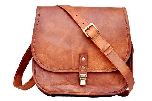 Bolso de hombro de cuero genuino hecho a mano para mujer, bolso de viaje, bolso de oficina, para mujer (marrón, 30 cm)