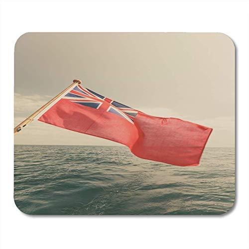 Mauspads Die britische rote Fahne Britische Seeflagge, geflogen vom Yachtsegelboot Blue Sky und Ostsee Sommermauspad für Notebooks, Desktop-Computer Mausmatten, Büromaterial
