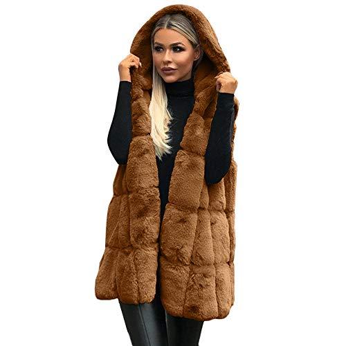 Lulupi Gilet Donna Pelliccia Sintetica Teddy Bear Cappotto con Cappuccio Invernale Senza Maniche Cardigan Lungo Donna Elegante Smanicato Leggero