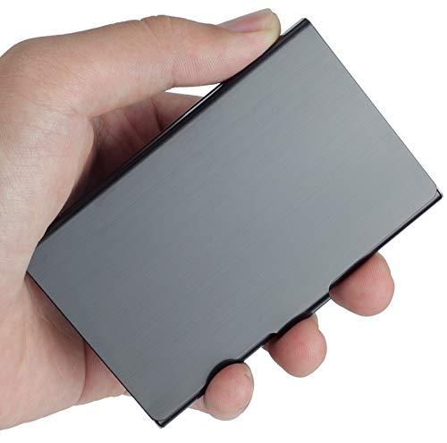 Soporte para tarjetas de visita de VIPITH, hecho de acero inoxidable, diseño delgado, ideal para trabajo y viajes, color plateado, color negro Small