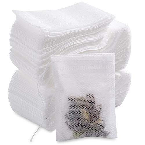 MUXItrade 200 Pezzi Sacchetti di Tè Filtro Monouso Bustine da Tè Naturale Greggi Carta Infondere Coulisse Vuoto Borsa per Tè Allentato di Foglia