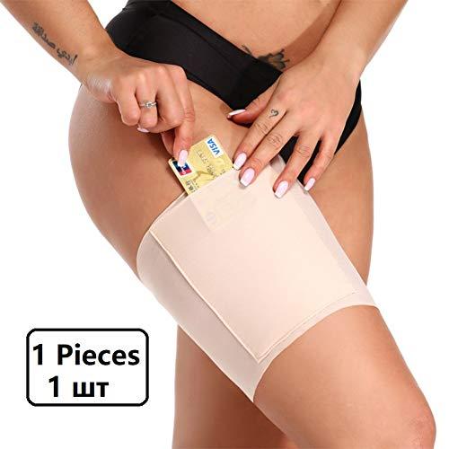 GFJKDO 1PCS Banda de Muslo Suave Puños elásticos para Las piernas Tarjeta de Bolsillo para teléfono Celular Antideslizante Bolsillo para Muslo Anti Rozaduras